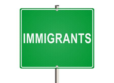 immigrants: Immigrants. Road sign on the white background. Raster illustration.