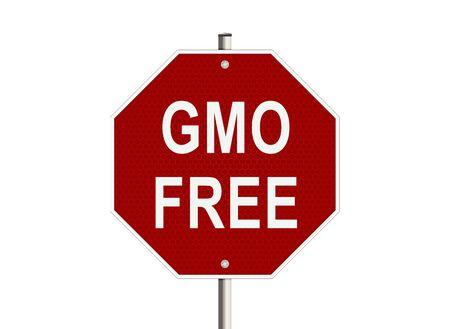 transgenic: GMO free. Road sign on the white background. Raster illustration.