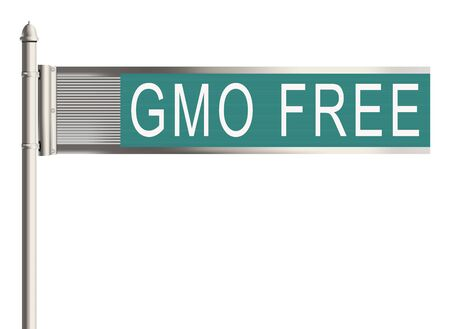 genetic modification: GMO free. Road sign on the white background. Raster illustration.