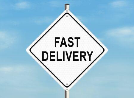 raster illustration: Fast delivery. Road sign on the sky background. Raster illustration.