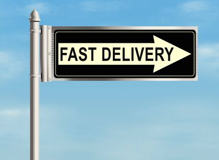 package delivery: Fast delivery. Road sign on the sky background. Raster illustration.