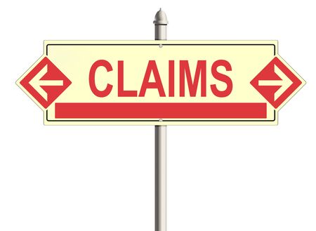 compensate: Claims. Road sign on the white background. Raster illustration. Stock Photo