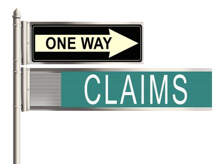 claims: Claims. Road sign on the white background. Raster illustration. Stock Photo