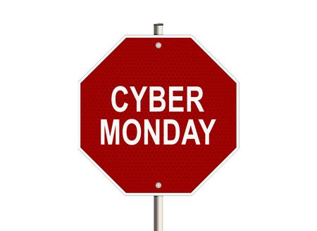 product signal: Cyber monday. Road sign on the white background. Raster illustration.