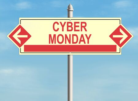 product signal: Cyber monday. Road sign on the sky background. Raster illustration. Stock Photo