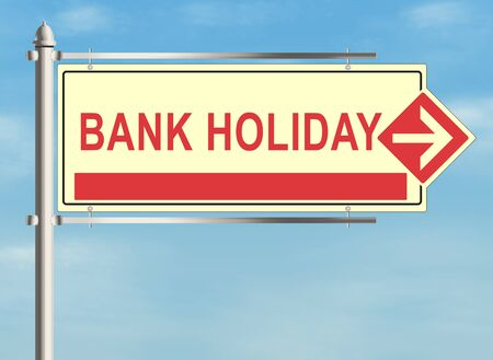 freetime: Bank holiday. Road sign on the white background. Raster illustration. Stock Photo