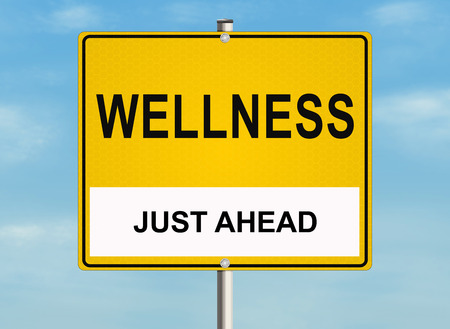 physical therapy: Wellness. Road sign on the sky background. Raster illustration. Stock Photo