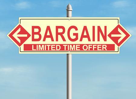 bargain: Bargain. Road sign on the sky background. Raster illustration. Stock Photo