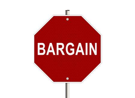 bargain: Bargain. Road sign on the white background. Raster illustration. Stock Photo