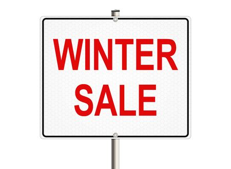 winter sale: Winter sale. Road sign on the white background. Raster illustration.
