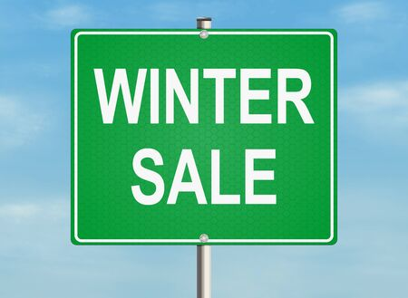 winter sale: Winter sale. Road sign on the sky background. Raster illustration.