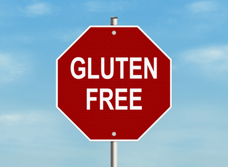 celiac: Gluten free. Road sign on the sky background. Raster illustration.