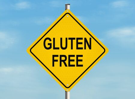 intolerant: Gluten free. Road sign on the sky background. Raster illustration.