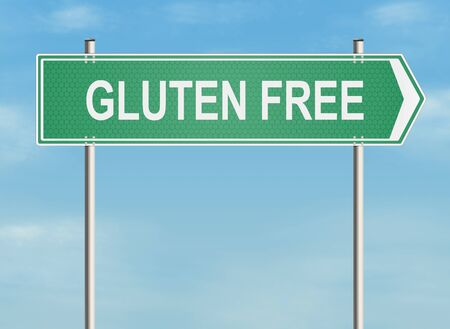 allergic reactions: Gluten free. Road sign on the sky background. Raster illustration.