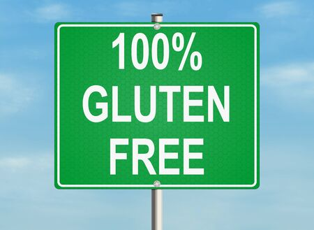 diagnosis: Gluten free. Road sign on the sky background. Raster illustration.