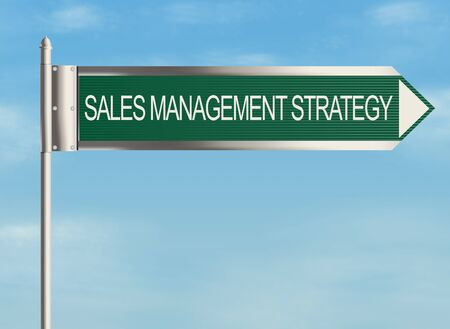 sales process: Sales process. Road sign on the sky background. Raster illustration. Stock Photo