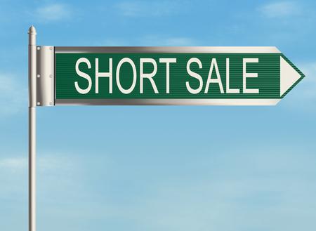 short sale: Short sale. Road sign on the sky background. Raster illustration.