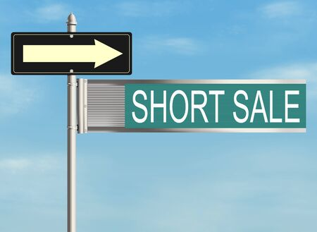 short sale: Short sale. Road sign on the sky background. Raster illustration.