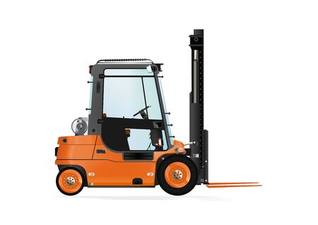 counterbalanced: Forklift truck on the white background. Raster illustration.
