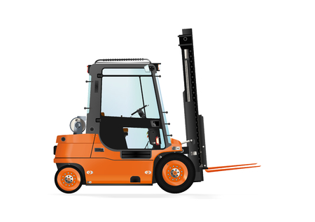 to unload: Forklift truck on the white background. Raster illustration.
