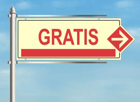 cost reduction: Gratis. Road sign on the sky background. Raster illustration.