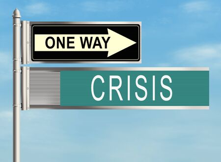financial emergency: Crisis. Road sign on the sky background. Raster illustration.