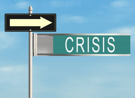 Crisis. Road sign on the sky background. Raster illustration.