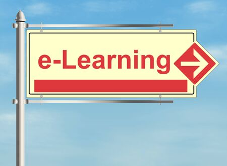 e learning: E learning. Road sign on the sky background. Raster illustration.