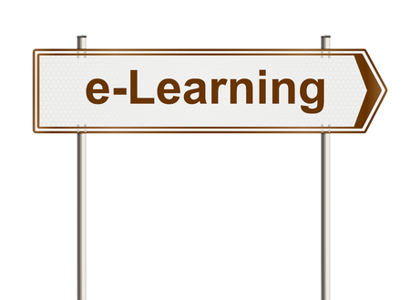 e learning: E learning. Road sign on the white background. Raster illustration. Stock Photo