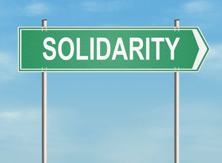 solidarity: Solidarity. Road sign on the sky background. Raster illustration.