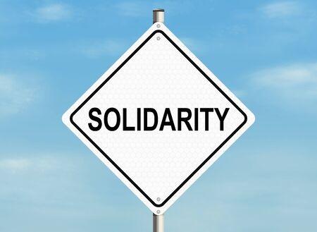 solidaridad: Solidarity. Road sign on the sky background. Raster illustration.