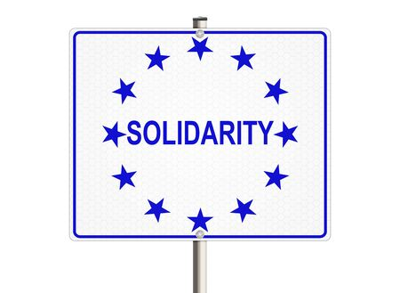 unbreakable: Solidarity. Road sign on the white background. Raster illustration.