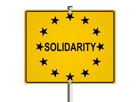 solidaridad: Solidaridad. La señal de tráfico en el fondo blanco. Ilustración de la trama. Foto de archivo