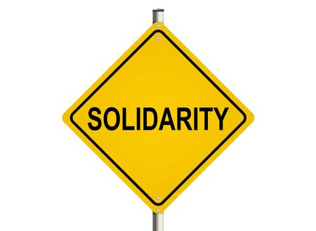 cooperate: Solidarity. Road sign on the white background. Raster illustration.