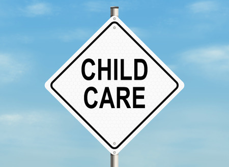 child care: Child care. Road sign on the sky background. Raster illustration.