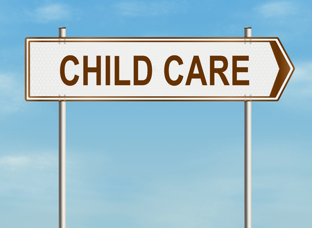 sitter: Child care. Road sign on the sky background. Raster illustration.