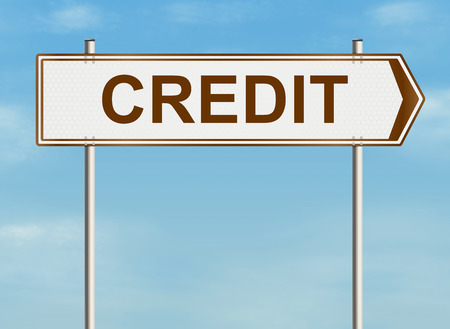bank records: Credit. Road sign on the sky background. Raster illustration.