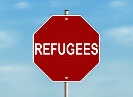 emigration and immigration: Refugees. Road sign on the sky background. Raster illustration.