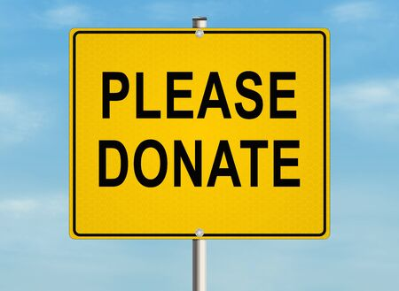 Donate. Road sign on the sky background. Raster illustration.
