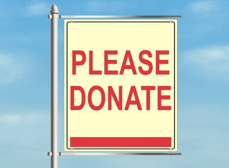 nonprofit: Donate. Road sign on the sky background. Raster illustration.