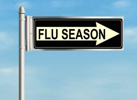 grippe: Flu season. Road sign on the sky background. Raster illustration.