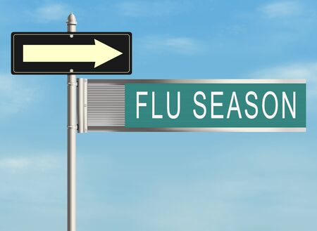 pandemia: Flu season. Road sign on the sky background. Raster illustration.