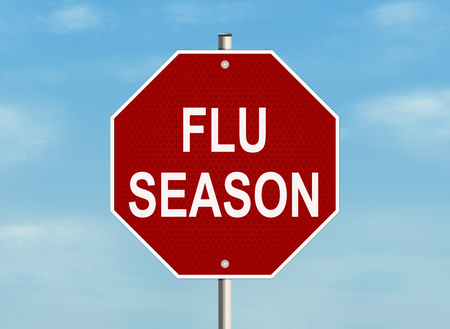 pandemia: Flu season Road sign on the sky background