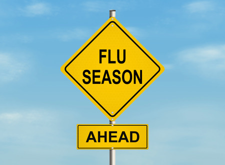 Flu season Road sign on the sky background