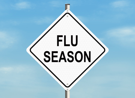 grippe: Flu season. Road sign on the sky background. Raster illustration.