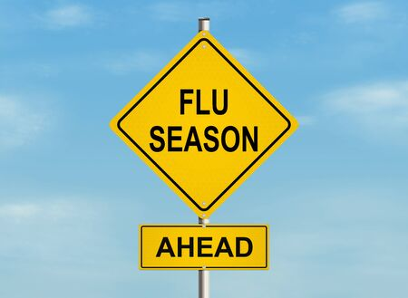 grippe: Flu season Road sign on the sky background