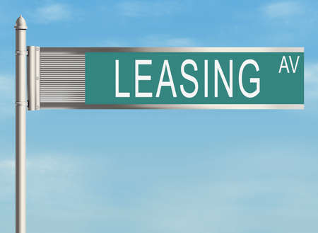 leasing: Leasing Road sign on the sky background