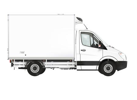 白い背景の上の冷蔵トラック 写真素材