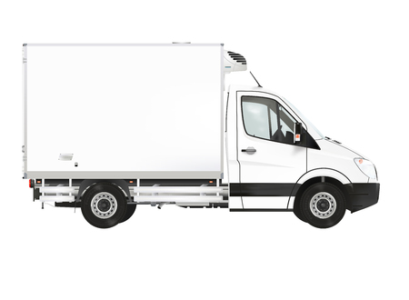Refrigerated truck on the white background Banco de Imagens