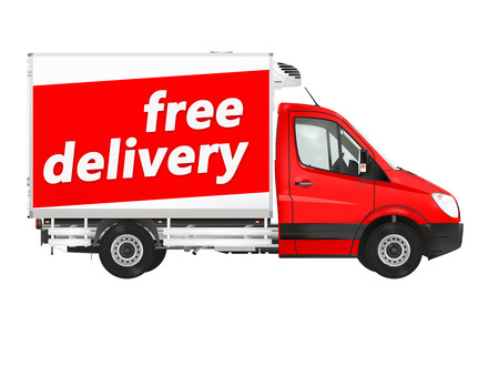 express delivery: Free delivery Van on the white background Stock Photo